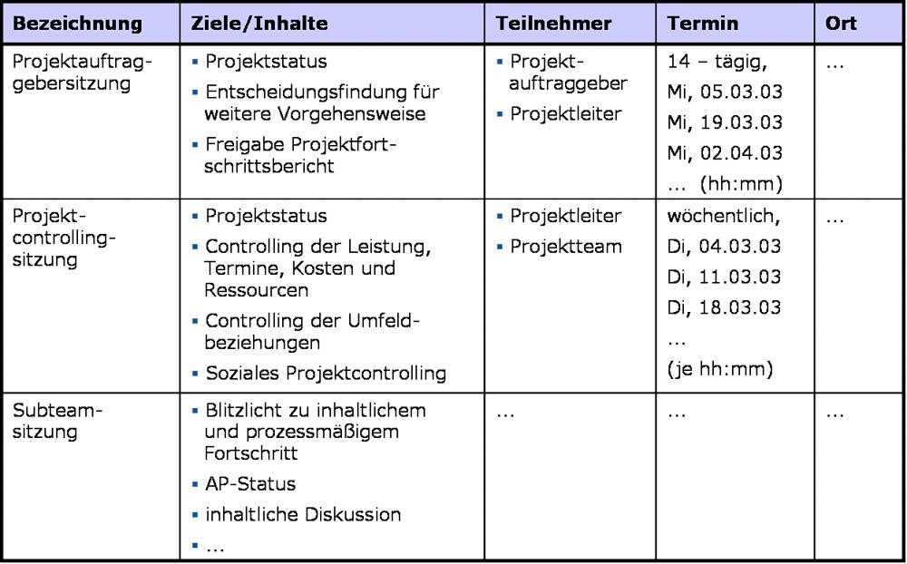 Tabellarische Darstellung Projektkommunikationsplan, erstellt mit MS PowerPoint